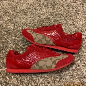Coach Red Patent Leather Monogram Kodie Sneakers